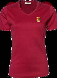 dames shirt 585_alumni logo_deep red_nyenrode
